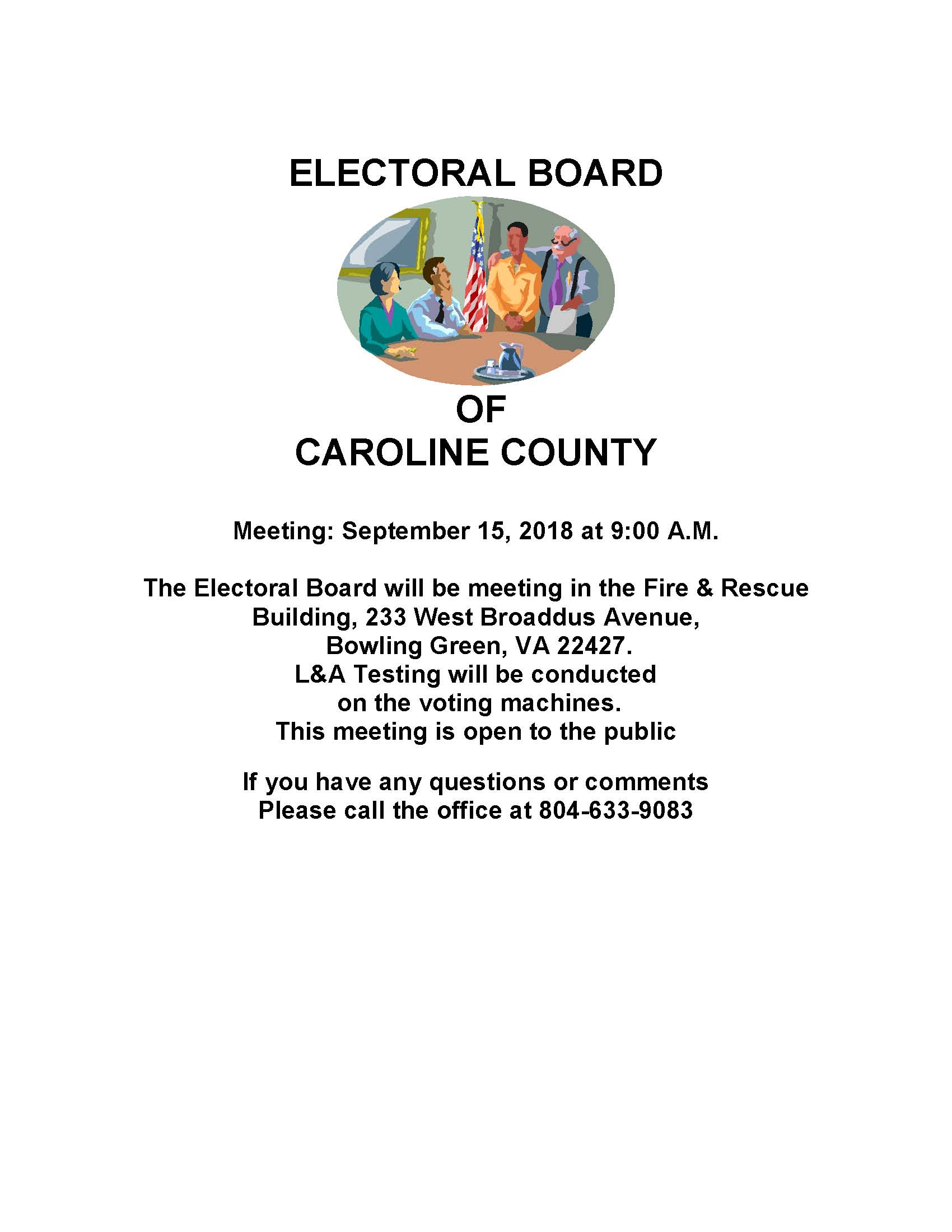 September 15 2018 Electoral Board Meeting Notice