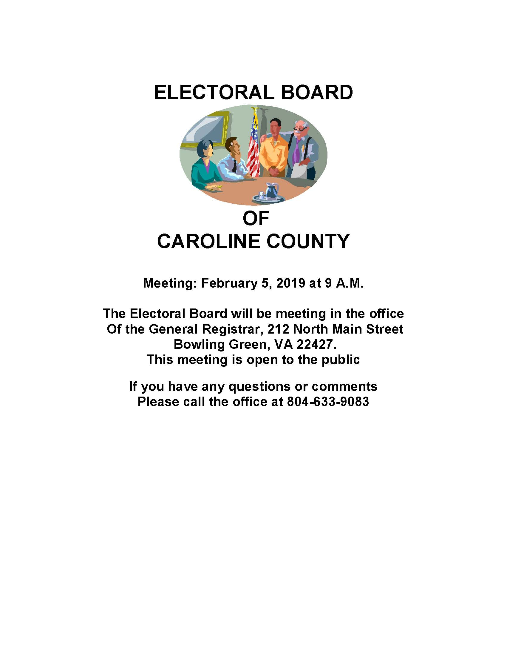 Electoral Board Meeting February 5, 2019