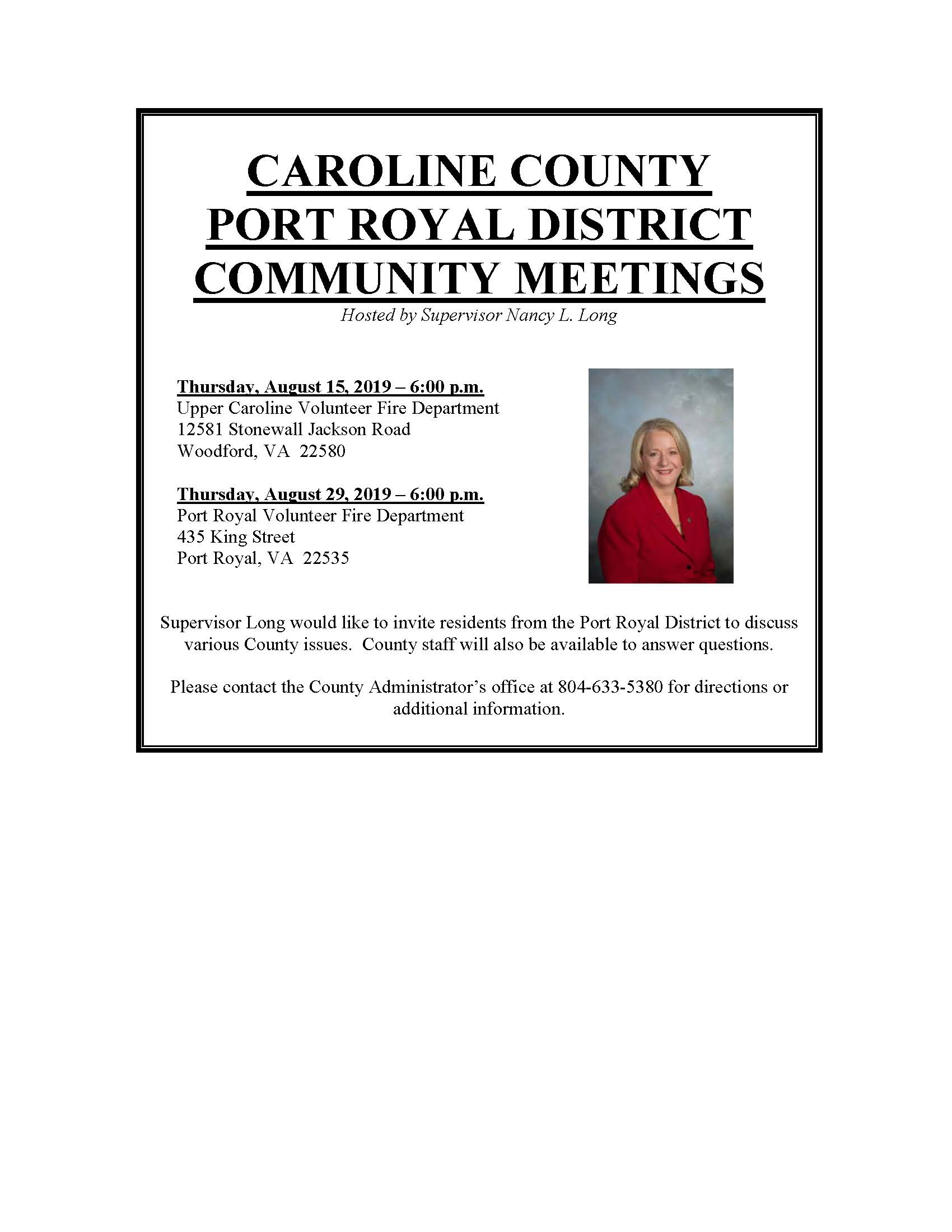 Port Royal District Community Meetings August 15 and 29, 2019