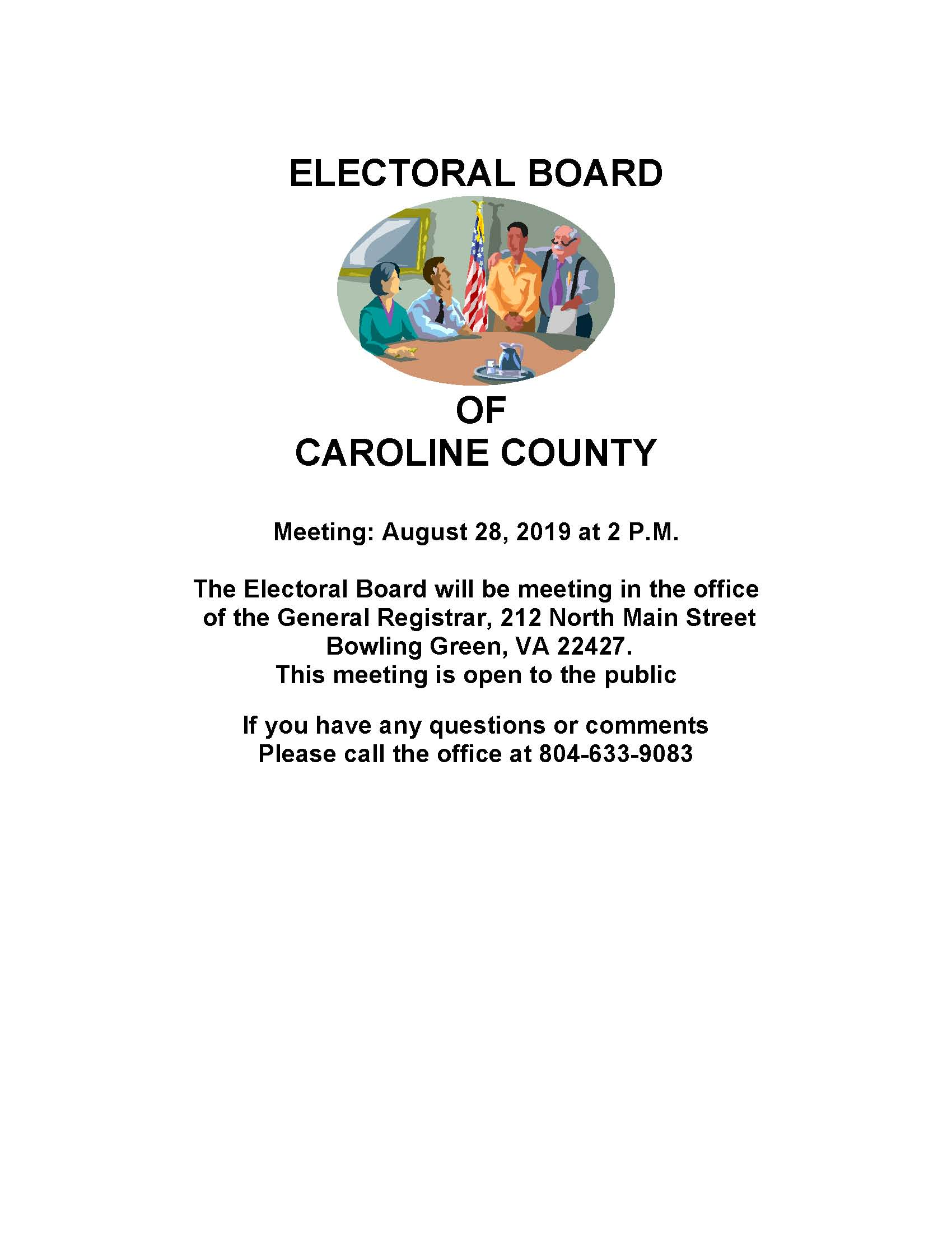 August 28, 2019 Electoral Board Meeting Notice