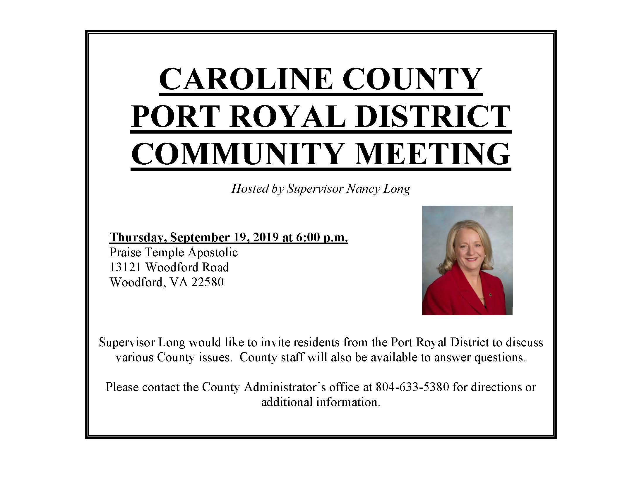 Port Royal District Community Meeting September 19, 2019