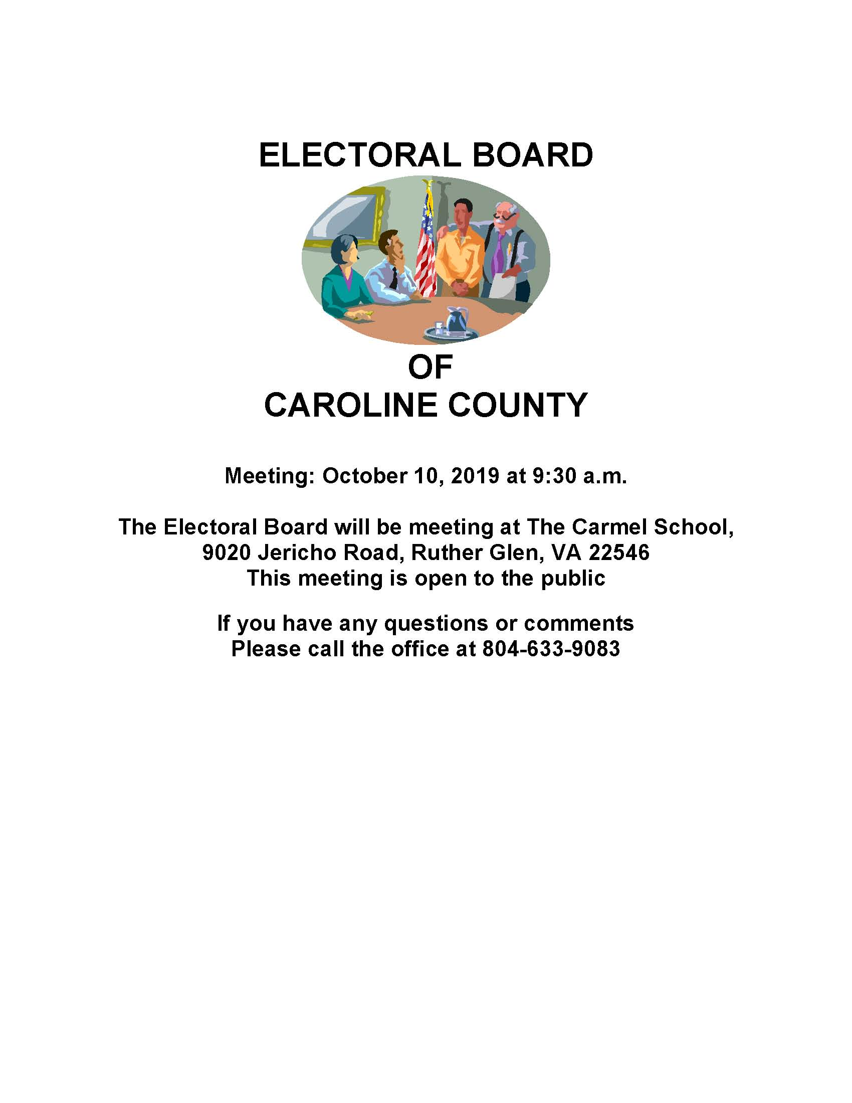 Electoral Board Meeting October 10, 2019