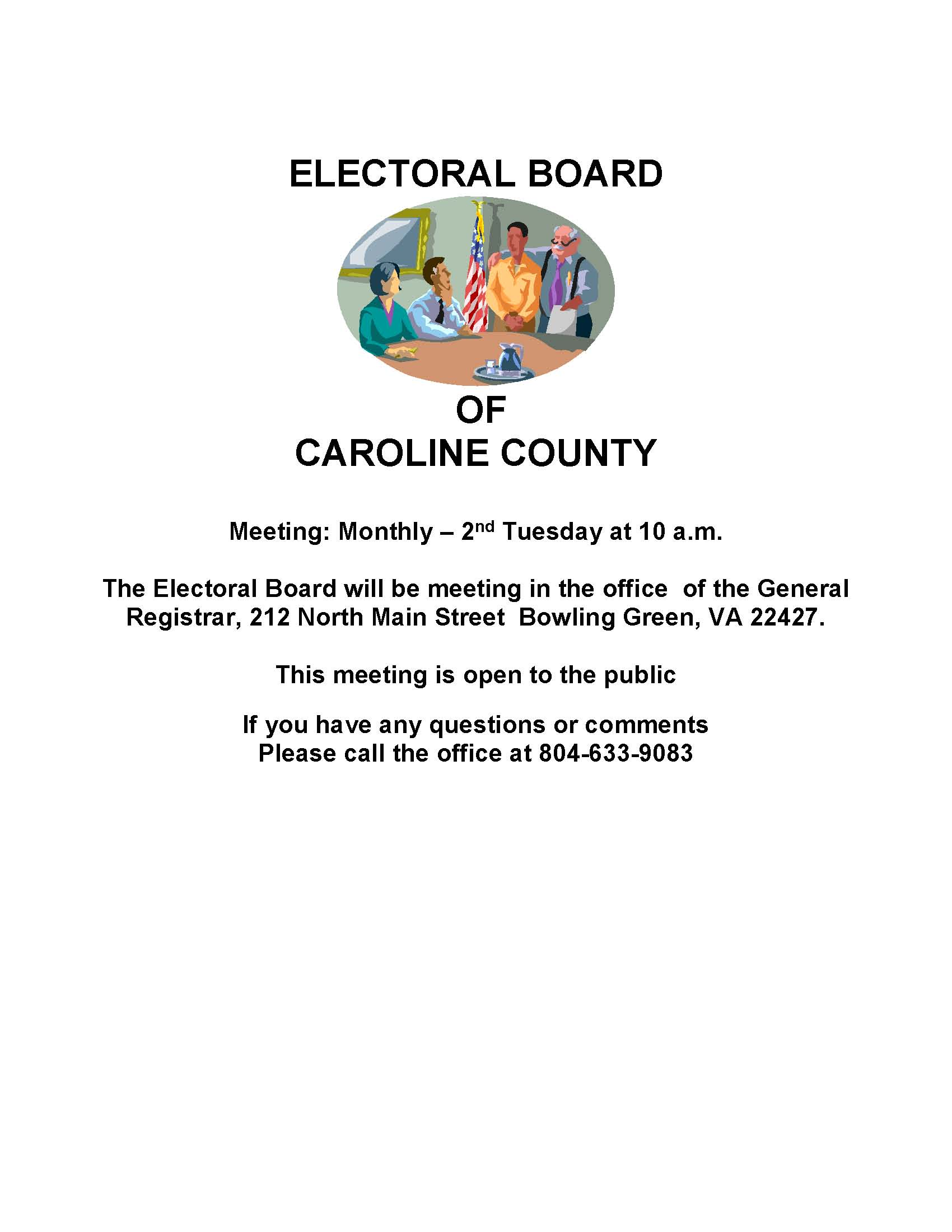 Caroline County Electoral Board Meetings 2020 Monthly