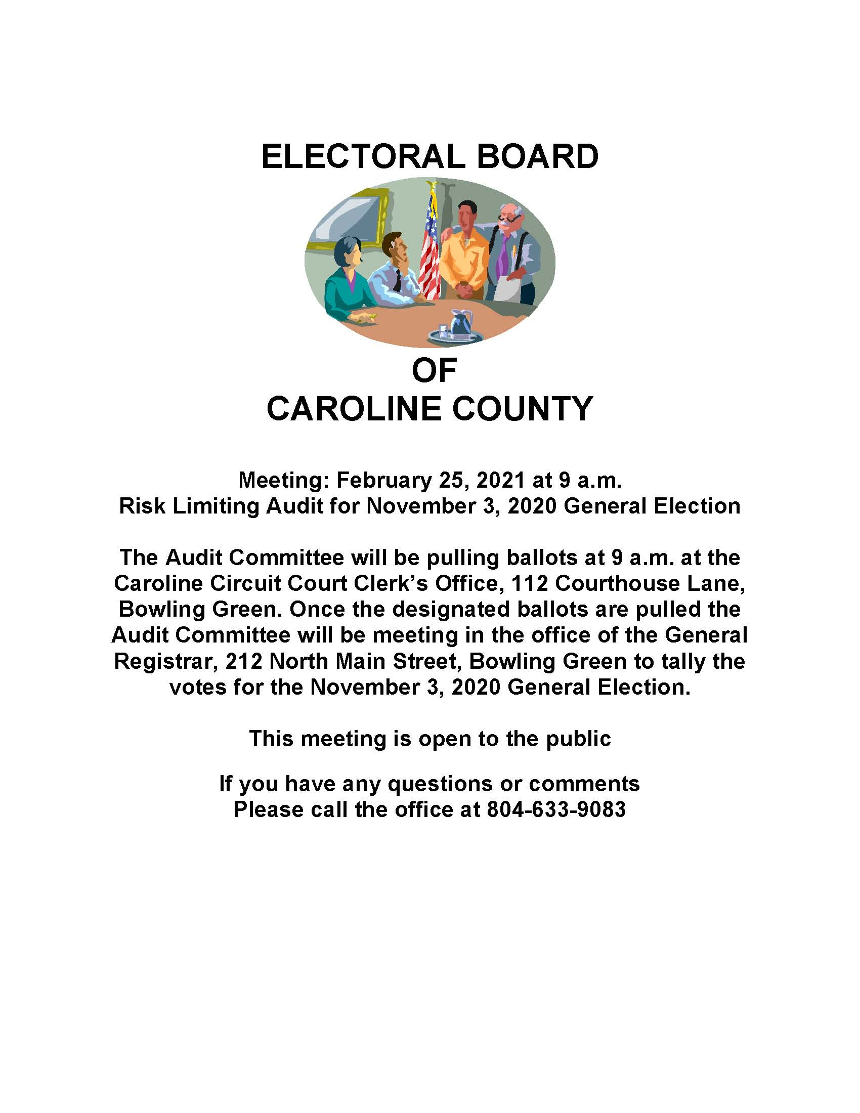 February 25, 2021 Electoral Board Meeting Notice